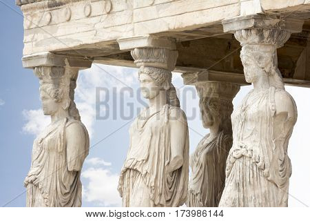 The Porch of the Caryatids on Erechtheion, Acropolis of Athens, Greece