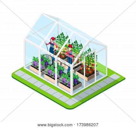 Greenhouse isometric concept with flowers and working people inside building isolated vector illustration