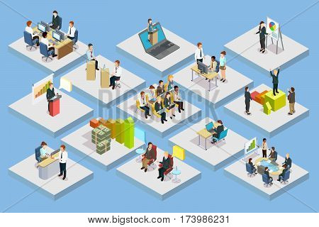 Business training isometric set with staff coaching and learning on gray squares isolated vector illustration