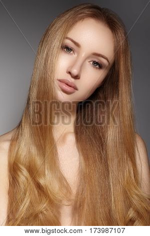 Fashion Long Hair. Beautiful Blond Girl. Healthy Straight Shiny Hair Style. Beauty Woman Model. Smoo