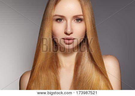 Fashion Long Hair. Beautiful Blond Girl. Healthy Straight Shiny Hair Style. Beauty Woman Model. Smoo