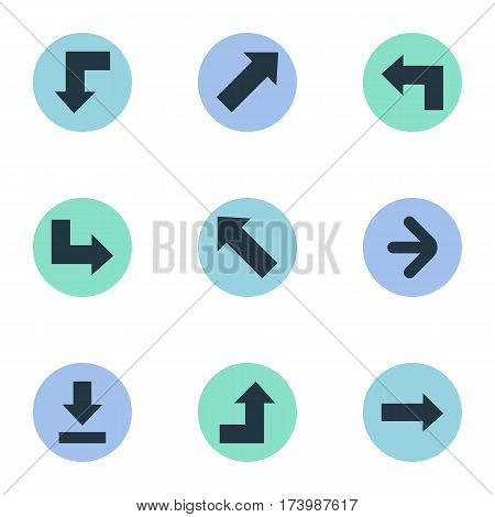 Set Of 9 Simple Indicator Icons. Can Be Found Such Elements As Let Down, Pointer, Right Direction And Other.