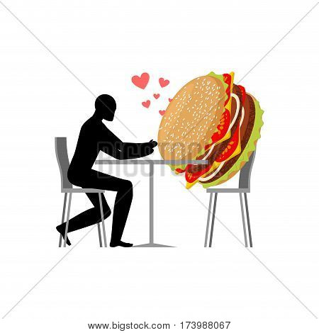 Lover Fast Food. Man And Hamburger In Cafe. Guy And Burger. Lovers In Restaurant. Romantic Date Fast
