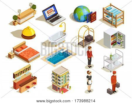 Hotel isometric icon set with guestroom beds bath reception desk room maid and bell attendant characters vector illustration