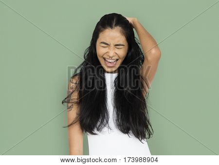 Asian Woman Tattoo Piercing Happy