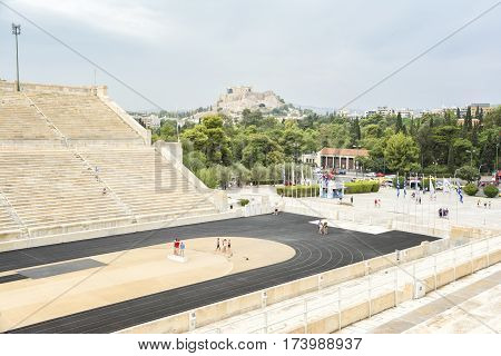 ATHENS, GREECE, SEPTEMBER 8,2016: Detail from Panathenaic Stadium, a multi-purpose historic stadium in Athens, Greece. It is the only stadium in the world built entirely of marble