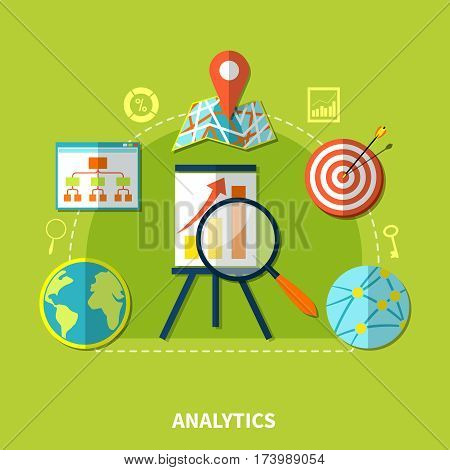 Analytics composition for website search optimization with internet networking and location images key percentage silhouette icons vector illustration