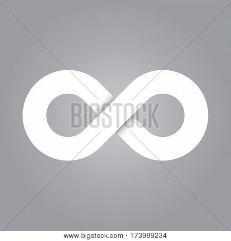 Infinity symbol icon. Representing the concept of infinite, limitless and endless things. Simple white vector design element on grey background.