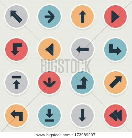 Set Of 16 Simple Arrows Icons. Can Be Found Such Elements As Upward Direction, Pointer, Let Down And Other.