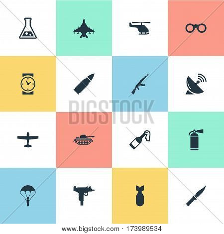 Set Of 16 Simple Military Icons. Can Be Found Such Elements As Signal Receiver, Extinguisher, Helicopter And Other.