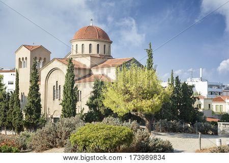 ATHENS, GREECE, SEPTEMBER 7, 2016: External view Agia Triada Church near Kerameikos, Athens, Greece.