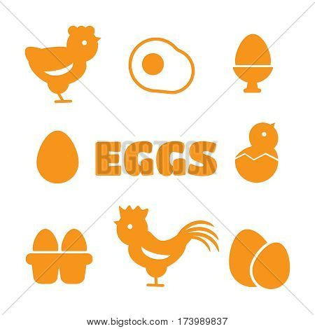 Egg icons. Egg food breakfast egg animal egg chicken. Egg vector