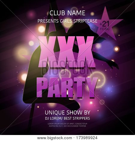 Party poster strip xxx adult striptease show with dancing woman body silhouette and editable text announcement vector illustration