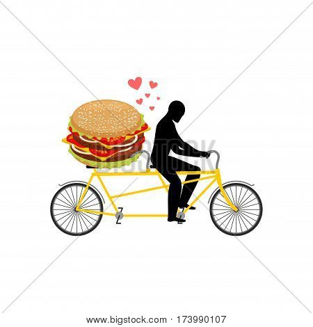 Lover Fast Food. Man And Hamburger On Tandem. Guy And Burger. Lovers Of Cycling. Man Rolls Bicycle.