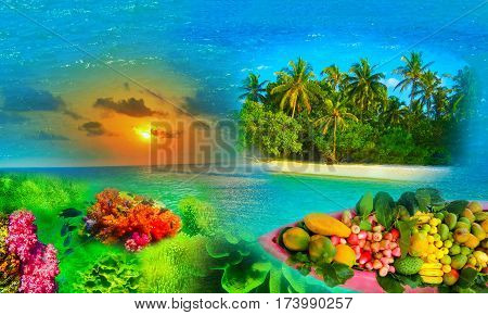 The abstract tropical island - the paradise concept and reaf under water