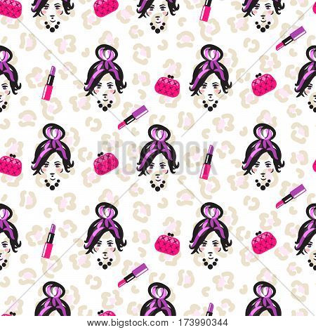 Glam girl sketch beauty seamless pattern. Leopard stain vector pink and purple background. Woman face, lipstick and bags.