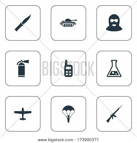 Set Of 9 Simple Army Icons. Can Be Found Such Elements As Chemistry, Terrorist, Extinguisher And Other.