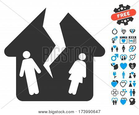 Divorce House icon with bonus marriage pictograms. Vector illustration style is flat iconic blue and gray symbols on white background.