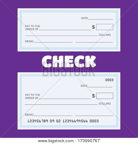 Blank check vector. Blank check template. Check vector