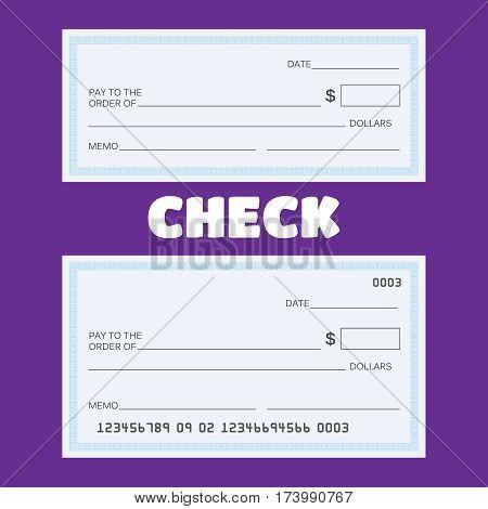 Blank check vector. Blank check template. Check vector