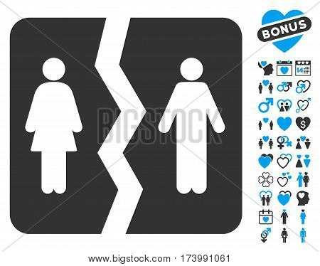 Divorce pictograph with bonus passion clip art. Vector illustration style is flat iconic blue and gray symbols on white background.