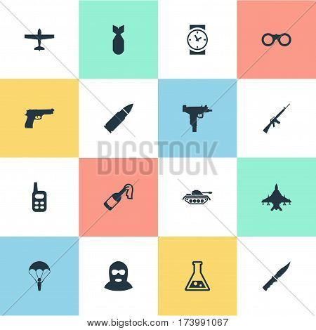 Set Of 16 Simple War Icons. Can Be Found Such Elements As Paratrooper, Pistol, Terrorist And Other.
