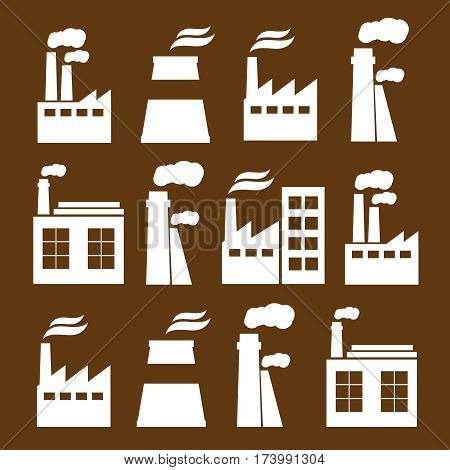 Industrial city construction building factories and plants flat icons. Industrial vector