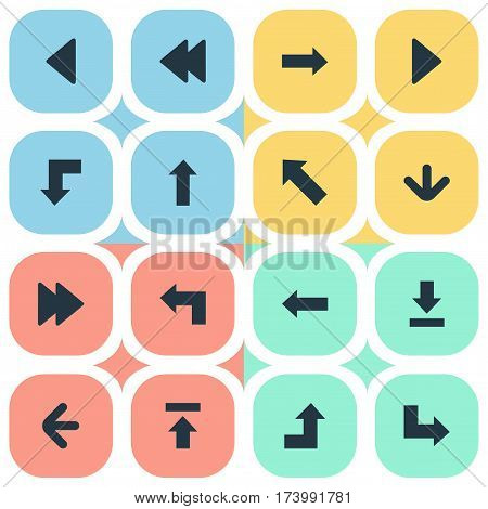 Set Of 16 Simple Cursor Icons. Can Be Found Such Elements As Upward Direction, Rearward, Advanced And Other.