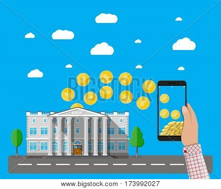 Hand holding mobile phone with gold coins inside and bank building. Mobile payment, mobile banking, money transfer. Vector illustration in flat style