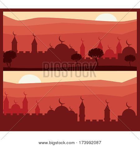 Horizontal abstract banners of arab city vector background. Arab city vector