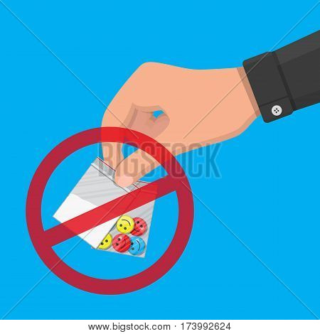 Hand of the drug dealer holding bag of narcotic pills and cocaine. Anti-drug concept. Vector illustration in flat style