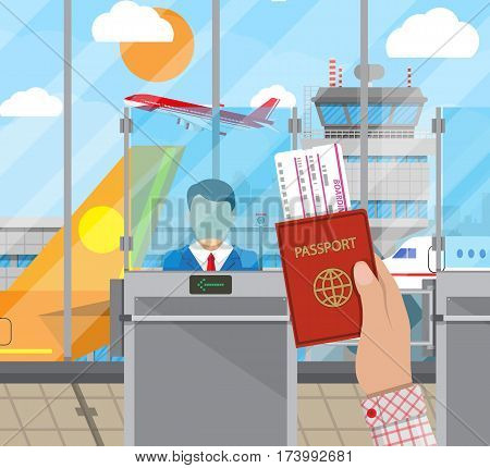 Hand with passport and ticket. Border control counter concept, immigration officer, camera. Airport terminal, control tower, aircraft, cityscape. Vector illustration in flat style