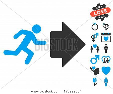 Exit Direction icon with bonus valentine graphic icons. Vector illustration style is flat iconic blue and gray symbols on white background.