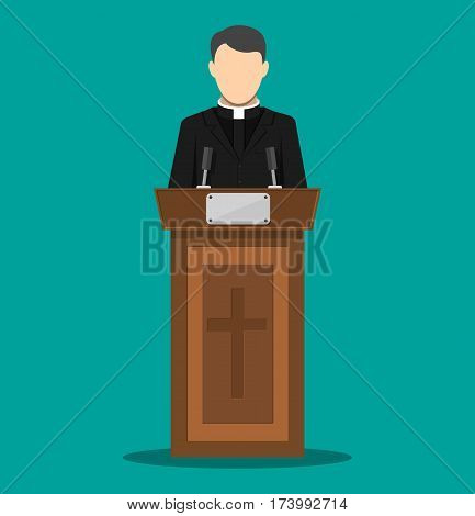 Priest giving speech from tribune. Catholic preacher person. Pastor servant of god in cassock. Vector illustration in flat style