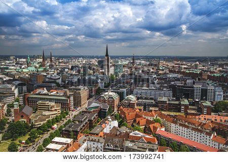 Overlook from the Tower to the old town part of Hamburg Germany