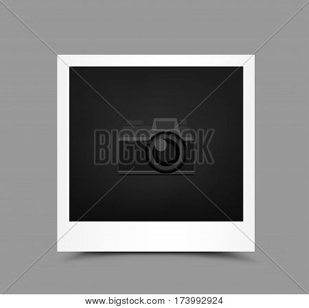 Retro paper photo icon with shadow on gray background. Empty template blank to insert your photography or picture. Camera symbol for default show