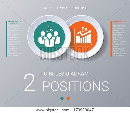 Circles diagram data Elements For Template infographics 2 positions. Coloured circles are located on a circle with shade. Concept of successful start of project and realization