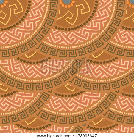 Traditional seamless vintage circle shaped ornate elements with Greek ornament Meander in brown colors. Can be used for wrapping paper, fabric, ceramic. Vector illustration