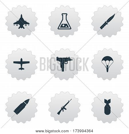 Set Of 9 Simple Military Icons. Can Be Found Such Elements As Sky Force, Paratrooper, Firearm And Other.