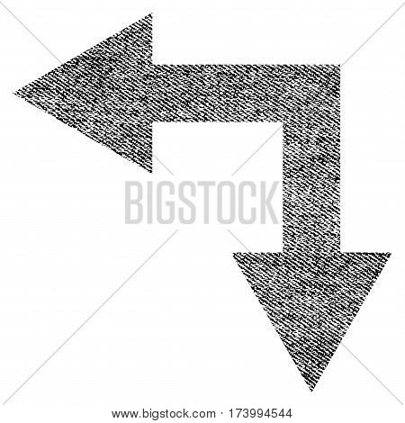 Bifurcation Arrow Left Down vector textured icon for overlay watermark stamps. Black jeans fabric vectorized texture. Symbol with unclean design.