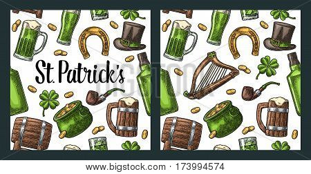 Seamless pattern Saint Patrick s Day. Top gentleman hat, pot of gold coins, pipe, beer glass, lyre, horseshoe, clover, barrel. Vector vintage color engraved illustration isolated white background.