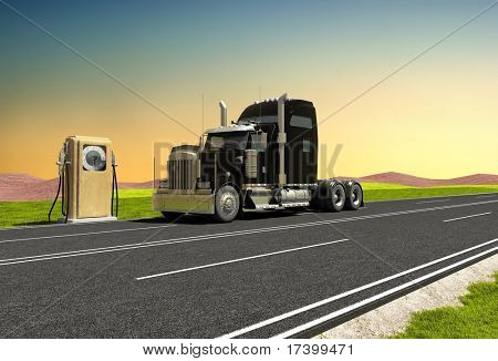 Petrol station and a truck on the road.