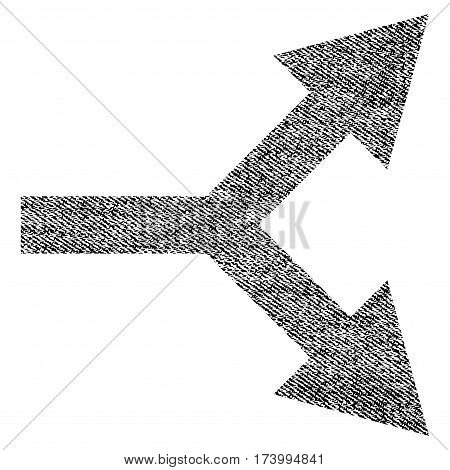 Bifurcation Arrow Right vector textured icon for overlay watermark stamps. Black jeans fabric vectorized texture. Symbol with dust design. Black ink rubber seal stamp with fiber textile structure.