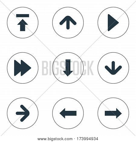 Set Of 9 Simple Pointer Icons. Can Be Found Such Elements As Right Direction , Downwards Pointing, Right Landmark.