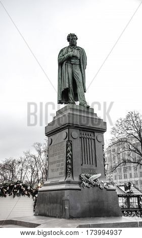 Monument to great Russian poet Pushkin in Moscow