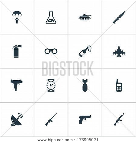 Set Of 16 Simple Battle Icons. Can Be Found Such Elements As Nuke, Pistol, Rifle Gun And Other.