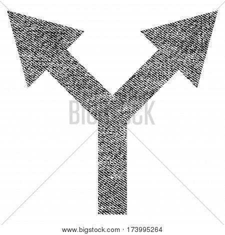 Bifurcation Arrow Up vector textured icon for overlay watermark stamps. Black jeans fabric vectorized texture. Symbol with dirty design. Black ink rubber seal stamp with fiber textile structure.