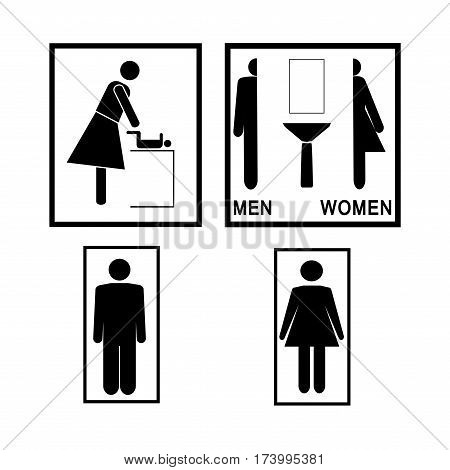 Sign WC set. Black silhouette men women. Icon toilet unisex. Sign restroom women and men. Mark service and care newborn. Symbol information bathroom for hygiene. Flat vector image Vector illustration