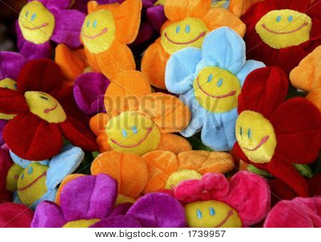 Smiling Colourful Fabric Flowers