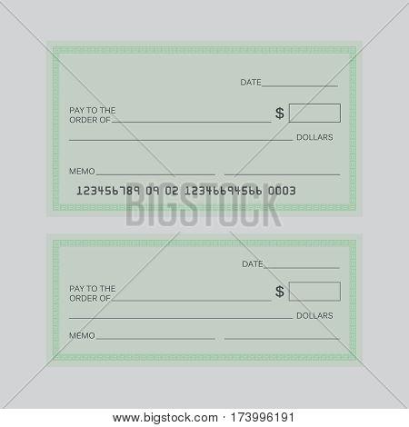 Blank check vector. Blank check sign bill